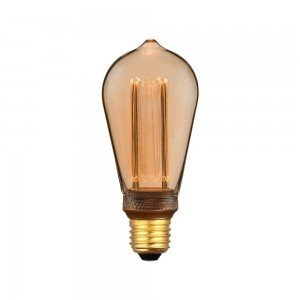 LED Крушка - 4W Арт Filament Кендъл E27 ST64 Amber Glass 1800K±200K