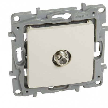 "TV SINGLE STAR SOCKET NILOÉ - ""F-F"" FEEDTHROUGH - ATTENUATION 1 DB - IVORY"