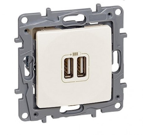 Double USB charging socket Niloé - ivory